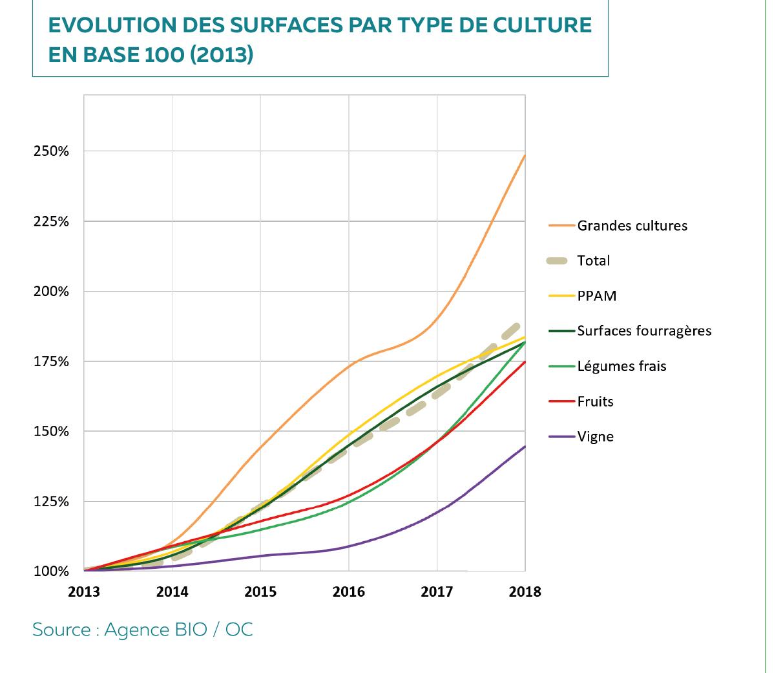 Chiffre agence bio : Évolution des surfaces par type de culture en base 100 (2013)